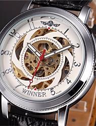 WINNER® Men's Auto-Mechanical Skeleton Watch PU Leather Band Wrist Watch Cool Watch Unique Watch Fashion Watch