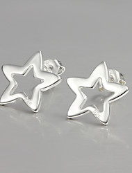 2015 Italy Style Silver Plated Star Design Stud Earrings for Lady