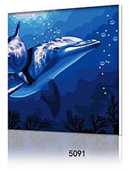 pittura a olio digitale fai da te con una solida cornice di legno famiglia pittura divertimento tutto da solo delfino love5091