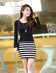 Women's Casual/Daily Sexy Dress,Striped Above Knee Long Sleeve Multi-color Fall