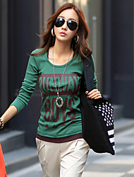Mulheres Camisa Decote Redondo Manga Longa Algodão Mulheres