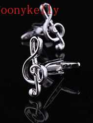 Toonykelly Fashion Copper Silver Plated Music Shirt Button Cufflink(1 Pair)