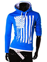 Men's  American flag printing fashion leisure hooded long-sleeved clothes