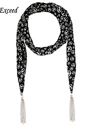 D Exceed  Luxury Shawls And Scarves Hot Selling Women's Leaves Print Chiffon Long Tassels Winter Scarf Necklaces
