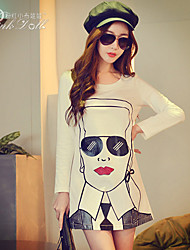 Pink Doll®Women's Casual/Print Character Puff Sleeve A-line Long T-shirt