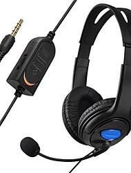 baixo estéreo jogo de bate-papo com fio duplo orelha copo headphone headset com microfone microfone boom para ps4