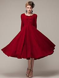 Women's Vintage/Casual/Cute/Party/Maxi Bow High Waist Elegent Long Sleeve Maxi Dress (Silk/Linen)
