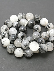 Beadia 39Cm/Str (Approx 32Pcs) Natural Black Rutilated Quartz Beads 12mm Round Stone Loose Beads DIY Accessories