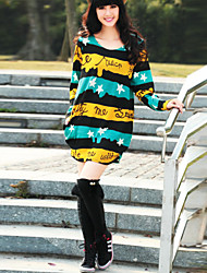 Women's Casual/Daily Plus Size Loose Dress,Print Round Neck Above Knee Long Sleeve Multi-color Cotton / Polyester All Seasons