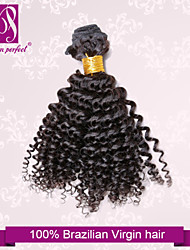 "1 pcs/lot 12""-30"" Unprocessed 6A Brazilian Virgin Natural Black Kinky Curly Human Hair 100% Human Hair Weaves Thick&Soft"