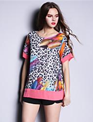 Summer Fashion Plus Size Women Casual Loose Print Leopard Ptachwork Short Sleeve Blouse Shirt Tops