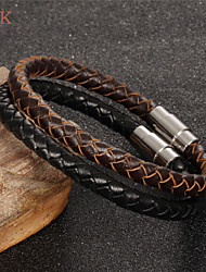 OPK®Stainless Steel Magnetic Buckle Leather Men's Bracelet