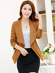 Women's Solid Red/Green/Yellow Casual Shirt Collar Long Sleeve Pocket/Zipper