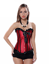 Satin Lace up Boned Corset with Small Dots Bodyshaper Waist trainer S-2XL