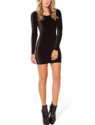 manga larga del bodycon vestido mini negro elástico de las mujeres