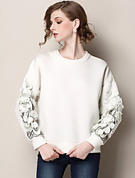 Damen Bluse  -  Stickerei/Blume Baumwolle/Andere Langarm Rundhalsausschnitt