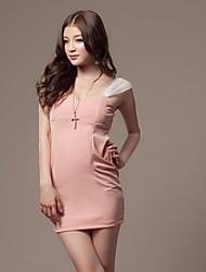 das mulheres v pescoço mini vestido, malhas rosa sexy