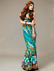 Women's Beach Inelastic Sleeveless Maxi Dress (Chiffon)