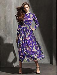 Formeller Abend Kleid Chiffon - A-Linie - wadenlang - Juwel-Ausschnitt