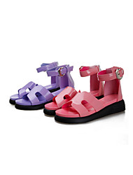 Women's Shoes Patent Leather Flat Heel Mary  Sandals Casual Pink/Purple