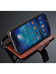 For Samsung Galaxy Case Card Holder / Wallet / with Stand / Flip Case Full Body Case Solid Color PU Leather Samsung S4