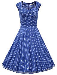 HHH Women's Vintage/Casual/Print/Party Square Sleeveless Dresses (Cotton/Polyester)