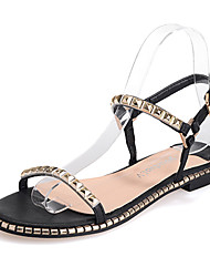 Women's Shoes Flat Heel Round Toe Sandals Casual Black/Gold