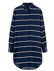Women's Striped Blue Shirt , Shirt Collar Long Sleeve