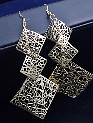 Top Quality European Style Three Square Drop Earrings for Wedding Party
