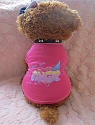 T-shirt-Chien-Eté-Rose-Cosplay Ange et Diable / Lettre et chiffre- enCoton