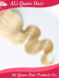 Ali Queen hair  products Closure Bleached Knots 4*4 inches,6a Virgin Human Blonde 613 Closure Free Part body wave