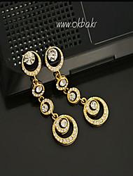 Korean Fashion Circle Diamond Drop Earrings Casual Gold Plated/Silver Plated/Platinum  Drop Earrings
