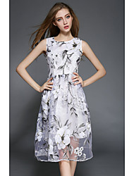 2015 New Summer Women High Quality Organza Dress Slim Round Neck Sleeveless Dress Printing Long Dress HNZ0805