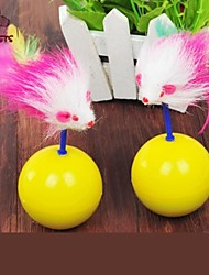 Cat Toy Pet Toys Teaser Feather Toy Mouse Yellow Textile