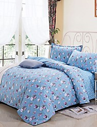 Blue Floral Cotton Bedding Set of 4pcs Queen Size Double Side Patterns