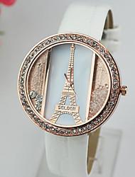 Masculino Mulheres Unissex Relógio de Moda Quartzo imitação de diamante PU Banda Torre Eiffel Preta Branco Vermelho Cores MúltiplasBranco