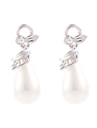 Classic Teardrop Shell Pearl Platinum Dangle Earrings - 2 Colors Available