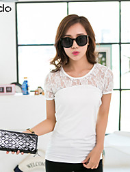 Women's White/Black T-shirt , Sexy/Lace Short Sleeve Lace