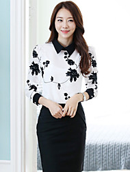 Women's Casual Embroidery Long Sleeve Regular Blouse (Chiffon)