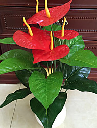 Set of 1 Noble 18 Head Anthurium Five Red Flowers Cloth Flowers (1PCS)