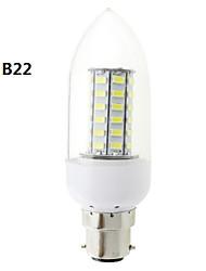 b22 / E27 7W geleid 56x5730 SMD 700LM warm wit / wit licht duidelijke omslag kaars gloeilamp (AC 220V ~ 240V)