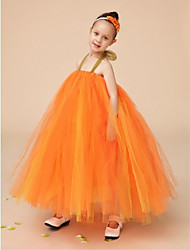 Ball Gown Floor-length Flower Girl Dress - Tulle Sleeveless Halter with