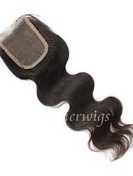 nouveau 10 '' - 18 '' cheveux vierge vague de corps brésiliens noeuds blanchis de clsoures de dentelle suisse fermetures de dentelle libre