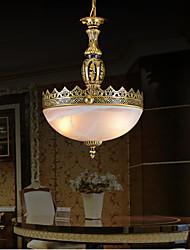 pingente de bronze duas luzes moiré de vidro europeu 220v clássico
