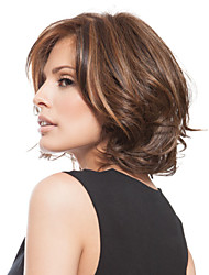 Fashion Wig Brwon Capless Short Wavy Synthetic Highlight Wigs