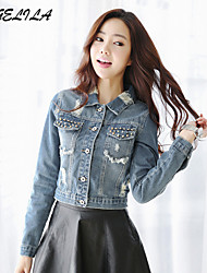 Women's Casual Long Sleeve Short Jeans Jacket