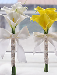 """Fleurs de mariage Rond Bouquets Mariage Polyester Satin Perle Mousse 6.3""""(Env.16cm)"""