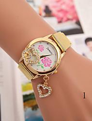 Mulheres Relógio de Moda Bracele Relógio Quartzo Lega Banda Flor Dourada # 5 # 6 # 7 # 8 # 9