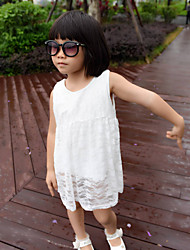 Girls' Summer Dresses Sleeveless Round Collar Flower Lace One Piece Dresses (Cotton)