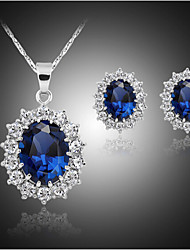 Juego de Joyas Zafiro Joyería de Lujo joyería de disfraz Gema Plateado Diamante Sintético Pendientes Collar Para Fiesta Cumpleaños Pedida